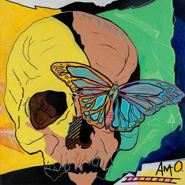 A wink at Warhol, Skull and Monarch by Ana O